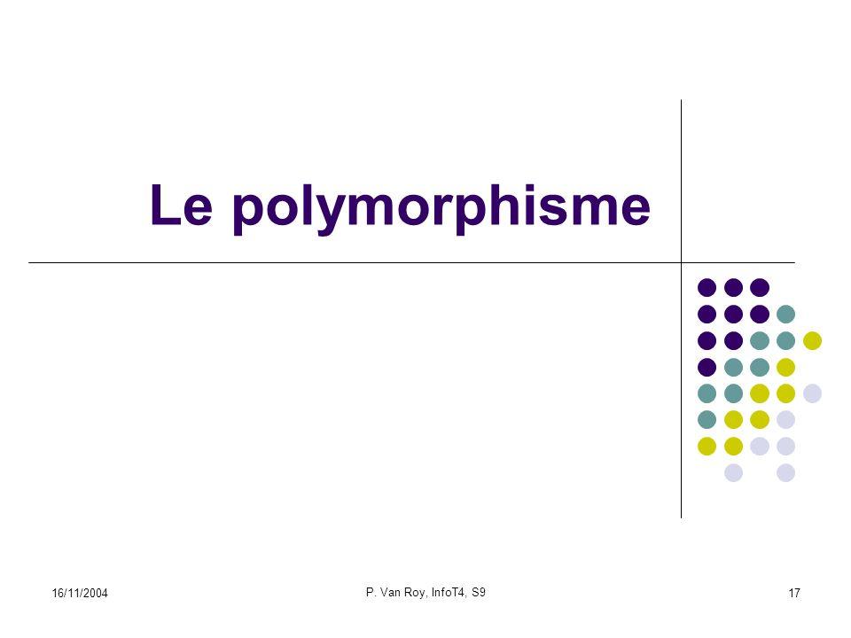 16/11/2004 P. Van Roy, InfoT4, S9 17 Le polymorphisme