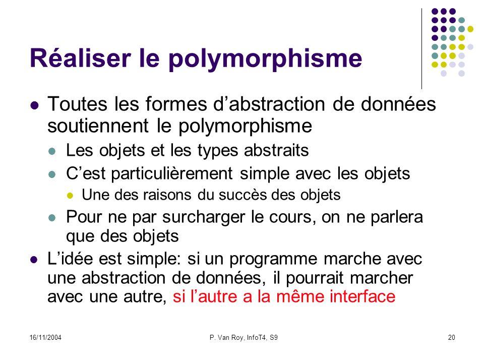 16/11/2004P. Van Roy, InfoT4, S920 Réaliser le polymorphisme Toutes les formes dabstraction de données soutiennent le polymorphisme Les objets et les