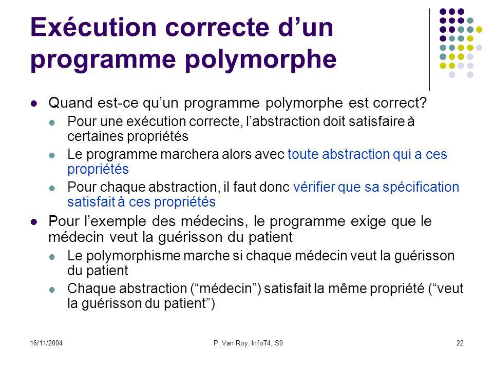 16/11/2004P. Van Roy, InfoT4, S922 Exécution correcte dun programme polymorphe Quand est-ce quun programme polymorphe est correct? Pour une exécution