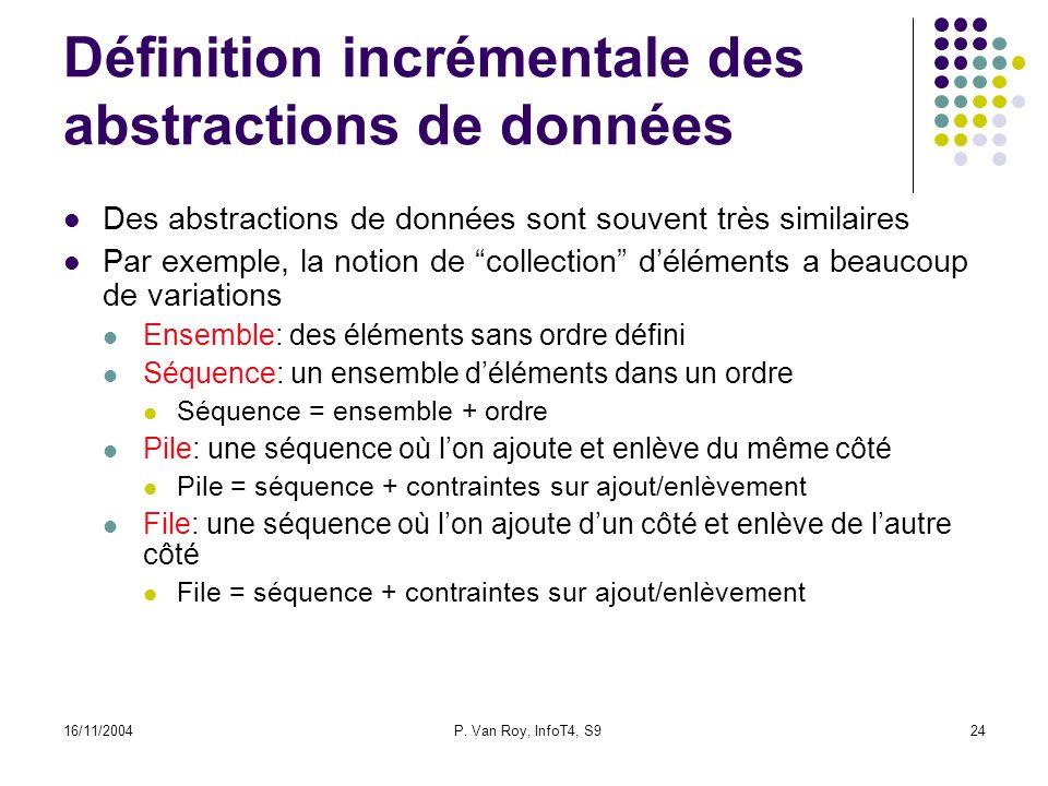 16/11/2004P. Van Roy, InfoT4, S924 Définition incrémentale des abstractions de données Des abstractions de données sont souvent très similaires Par ex