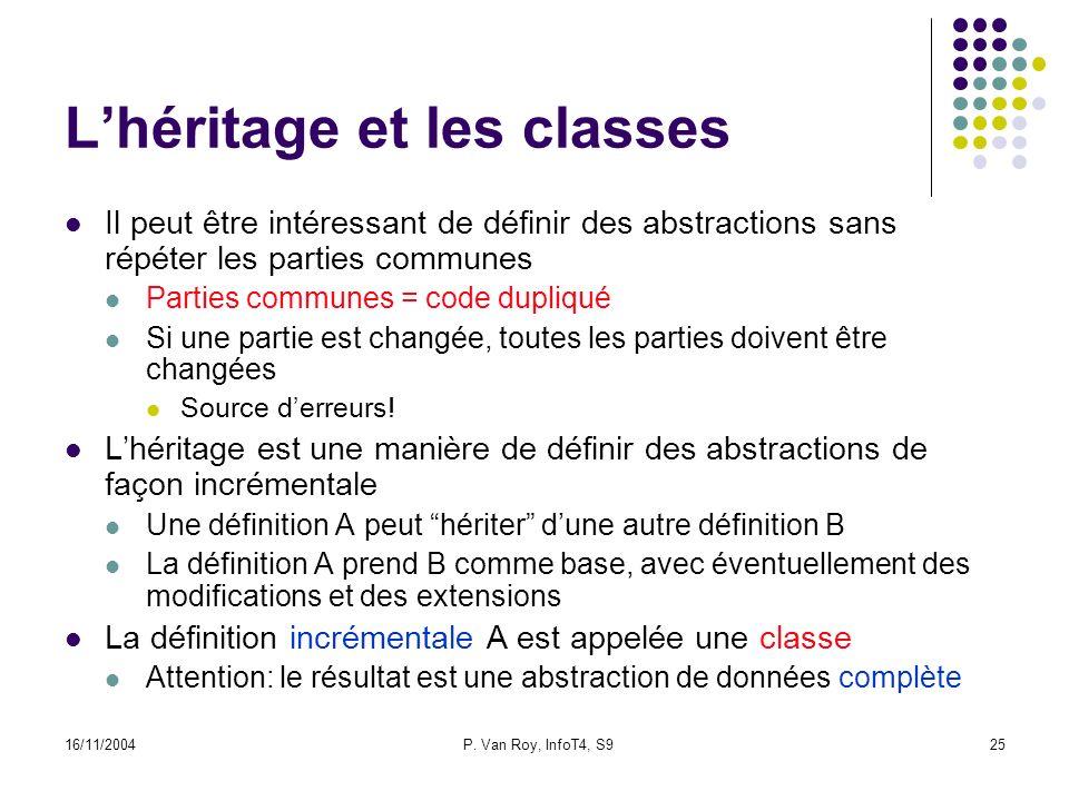 16/11/2004P. Van Roy, InfoT4, S925 Lhéritage et les classes Il peut être intéressant de définir des abstractions sans répéter les parties communes Par