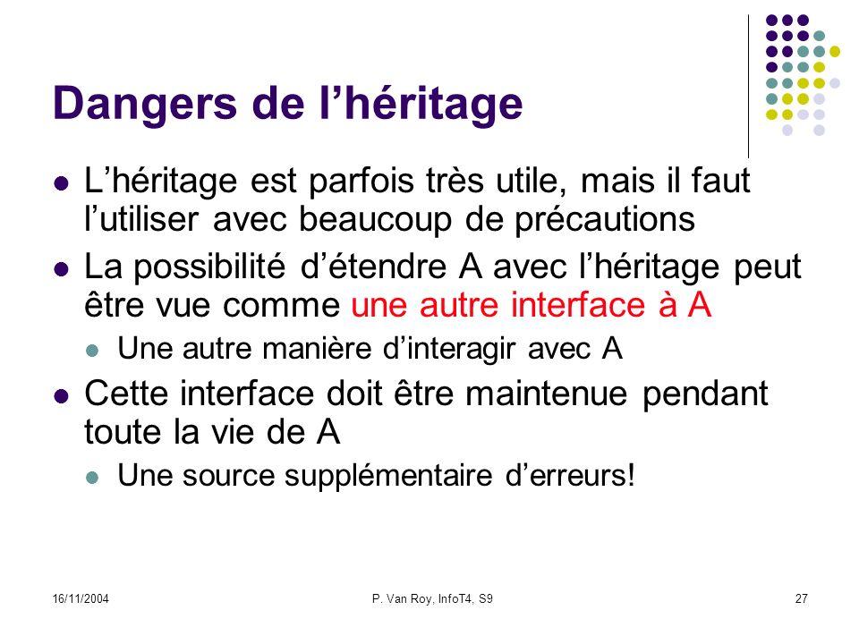 16/11/2004P. Van Roy, InfoT4, S927 Dangers de lhéritage Lhéritage est parfois très utile, mais il faut lutiliser avec beaucoup de précautions La possi