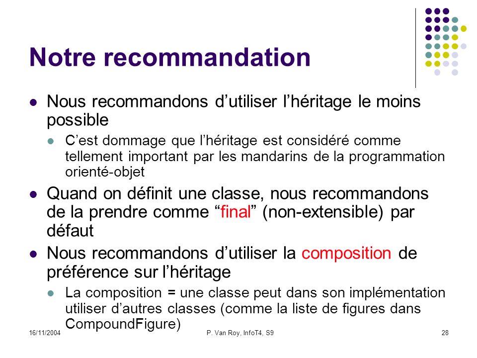 16/11/2004P. Van Roy, InfoT4, S928 Notre recommandation Nous recommandons dutiliser lhéritage le moins possible Cest dommage que lhéritage est considé