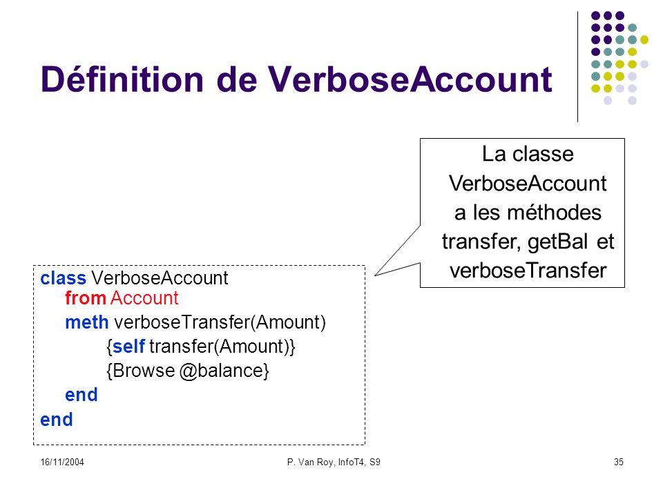 16/11/2004P. Van Roy, InfoT4, S935 Définition de VerboseAccount class VerboseAccount from Account meth verboseTransfer(Amount) {self transfer(Amount)}