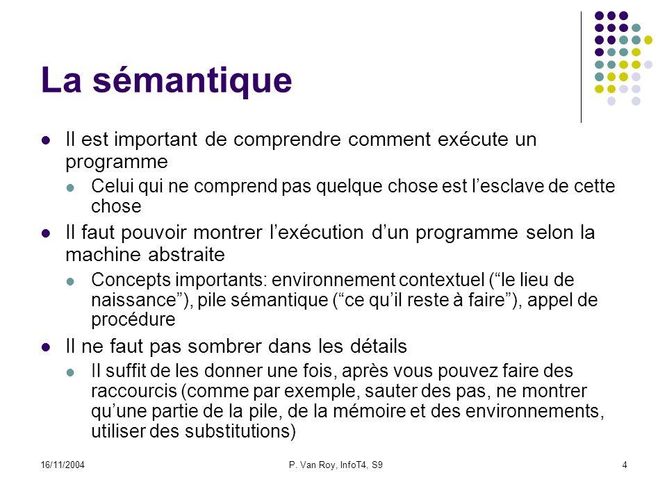 16/11/2004P. Van Roy, InfoT4, S94 La sémantique Il est important de comprendre comment exécute un programme Celui qui ne comprend pas quelque chose es