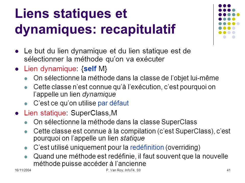 16/11/2004P. Van Roy, InfoT4, S941 Liens statiques et dynamiques: recapitulatif Le but du lien dynamique et du lien statique est de sélectionner la mé