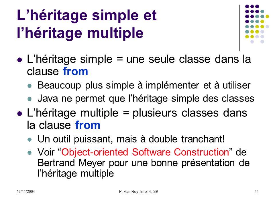 16/11/2004P. Van Roy, InfoT4, S944 Lhéritage simple et lhéritage multiple Lhéritage simple = une seule classe dans la clause from Beaucoup plus simple