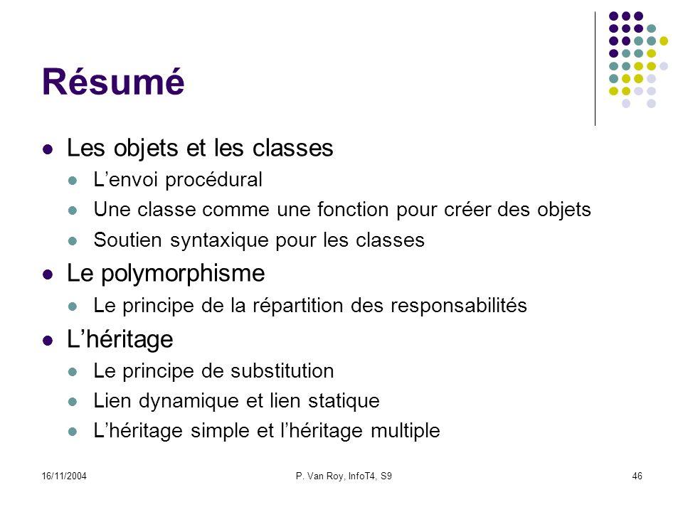 16/11/2004P. Van Roy, InfoT4, S946 Résumé Les objets et les classes Lenvoi procédural Une classe comme une fonction pour créer des objets Soutien synt
