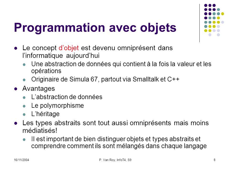 16/11/2004P. Van Roy, InfoT4, S98 Programmation avec objets Le concept dobjet est devenu omniprésent dans linformatique aujourdhui Une abstraction de