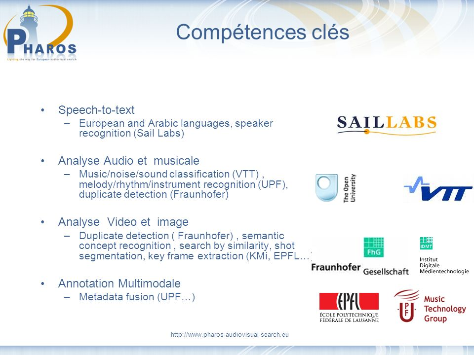Compétences clés Speech-to-text –European and Arabic languages, speaker recognition (Sail Labs) Analyse Audio et musicale –Music/noise/sound classific