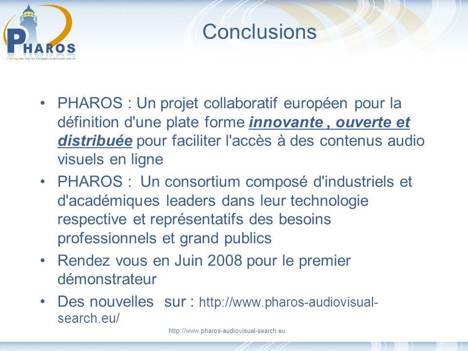http://www.pharos-audiovisual-search.eu Conclusions PHAROS : Un projet collaboratif européen pour la définition d'une plate forme innovante, ouverte e