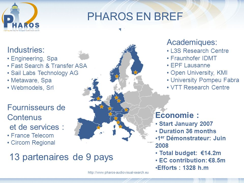 http://www.pharos-audiovisual-search.eu PHAROS EN BREF 13 partenaires de 9 pays Industries: Engineering, Spa Fast Search & Transfer ASA Sail Labs Tech