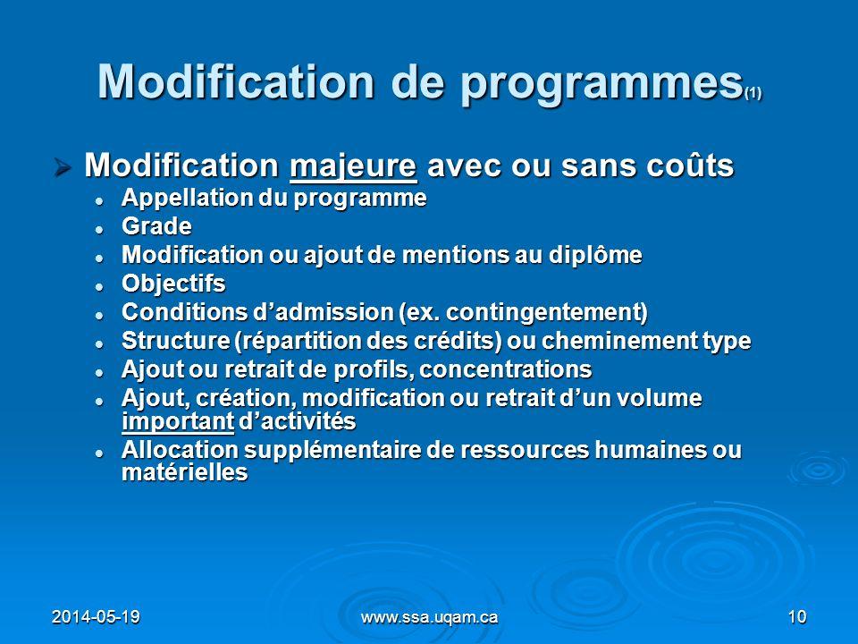 Modification de programmes (1) Modification majeure avec ou sans coûts Modification majeure avec ou sans coûts Appellation du programme Appellation du