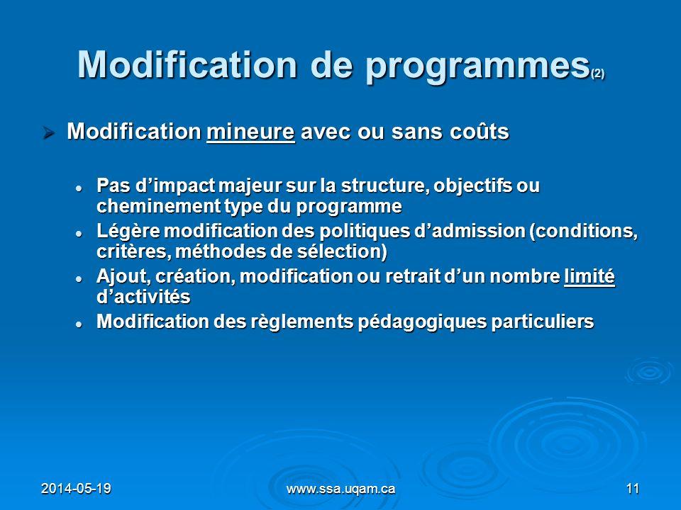 Modification de programmes (2) Modification mineure avec ou sans coûts Modification mineure avec ou sans coûts Pas dimpact majeur sur la structure, ob