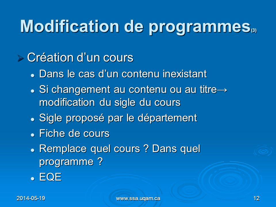 Modification de programmes (3) Création dun cours Création dun cours Dans le cas dun contenu inexistant Dans le cas dun contenu inexistant Si changeme