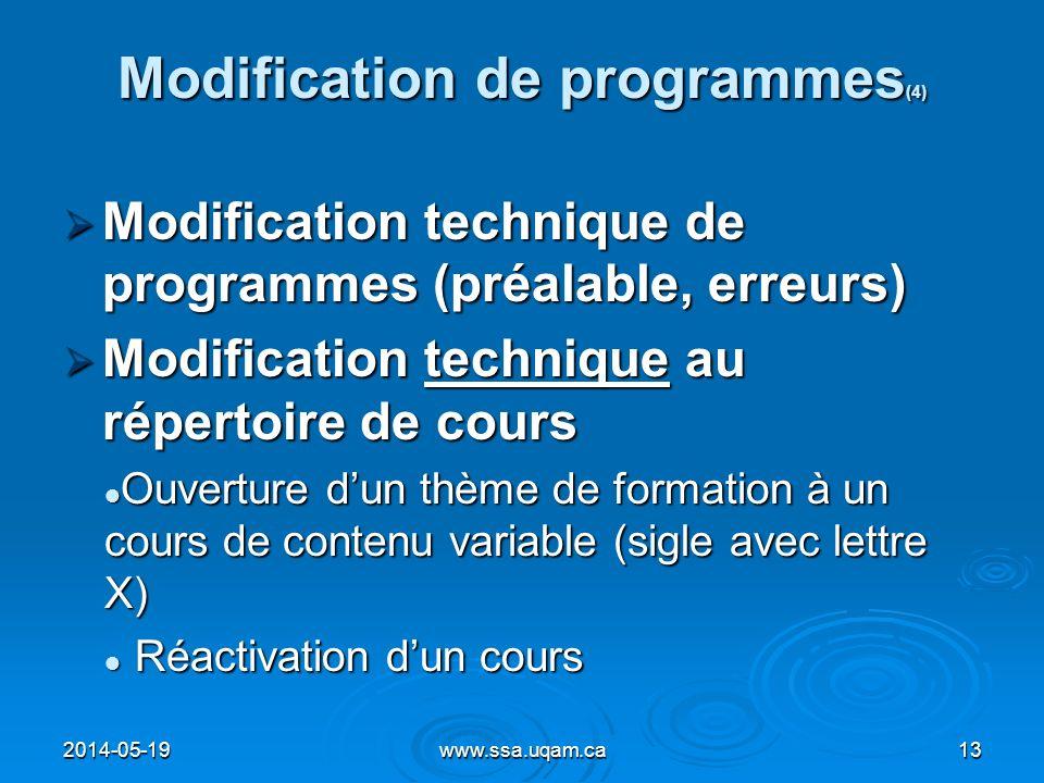 Modification de programmes (4) Modification technique de programmes (préalable, erreurs) Modification technique de programmes (préalable, erreurs) Mod