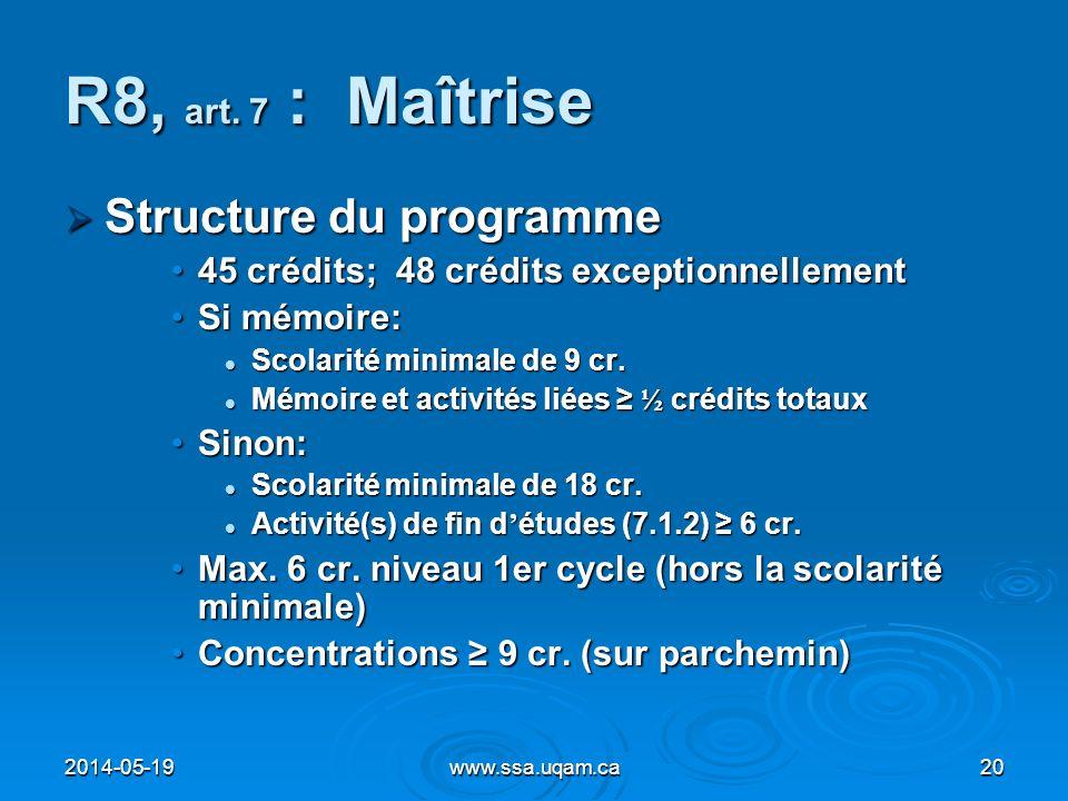 R8, art. 7 : Maîtrise Structure du programme Structure du programme 45 crédits; 48 crédits exceptionnellement45 crédits; 48 crédits exceptionnellement