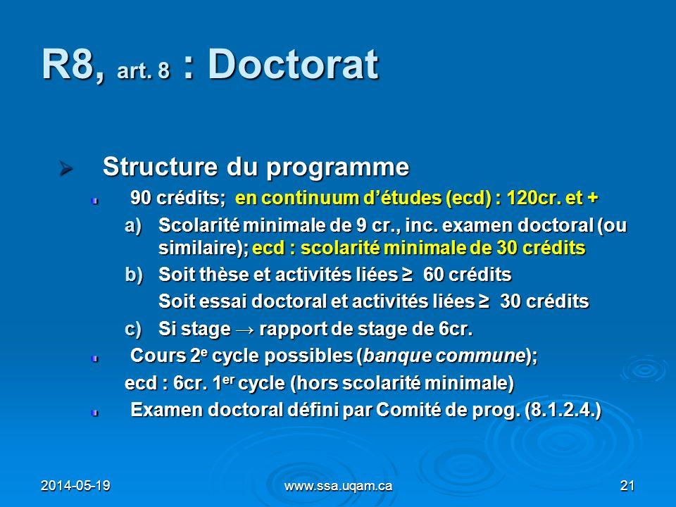 R8, art. 8 : Doctorat Structure du programme Structure du programme 90 crédits; en continuum détudes (ecd) : 120cr. et + a)Scolarité minimale de 9 cr.
