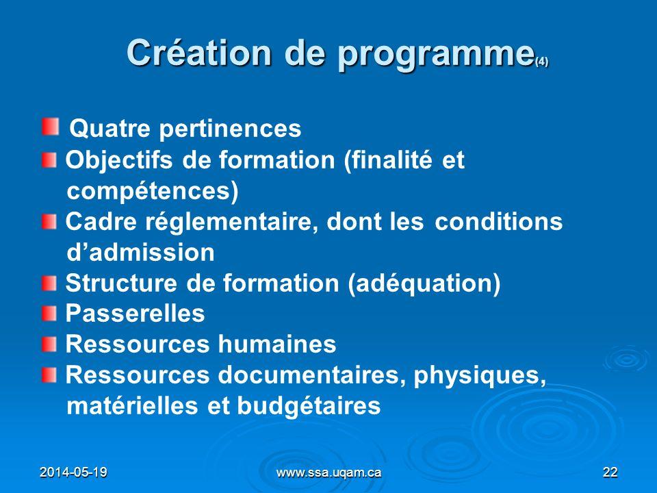 Création de programme (4) Quatre pertinences Objectifs de formation (finalité et compétences) Cadre réglementaire, dont les conditions dadmission Stru