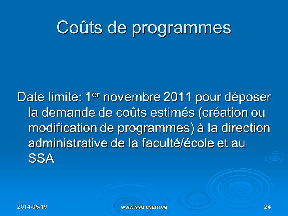 Coûts de programmes Date limite: 1 er novembre 2011 pour déposer la demande de coûts estimés (création ou modification de programmes) à la direction a