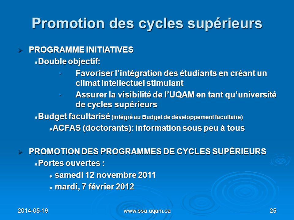 Promotion des cycles supérieurs PROGRAMME INITIATIVES PROGRAMME INITIATIVES Double objectif: Double objectif: Favoriser lintégration des étudiants en
