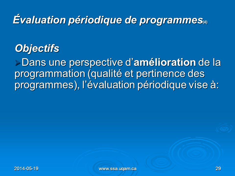 Évaluation périodique de programmes (4) Objectifs Dans une perspective damélioration de la programmation (qualité et pertinence des programmes), léval