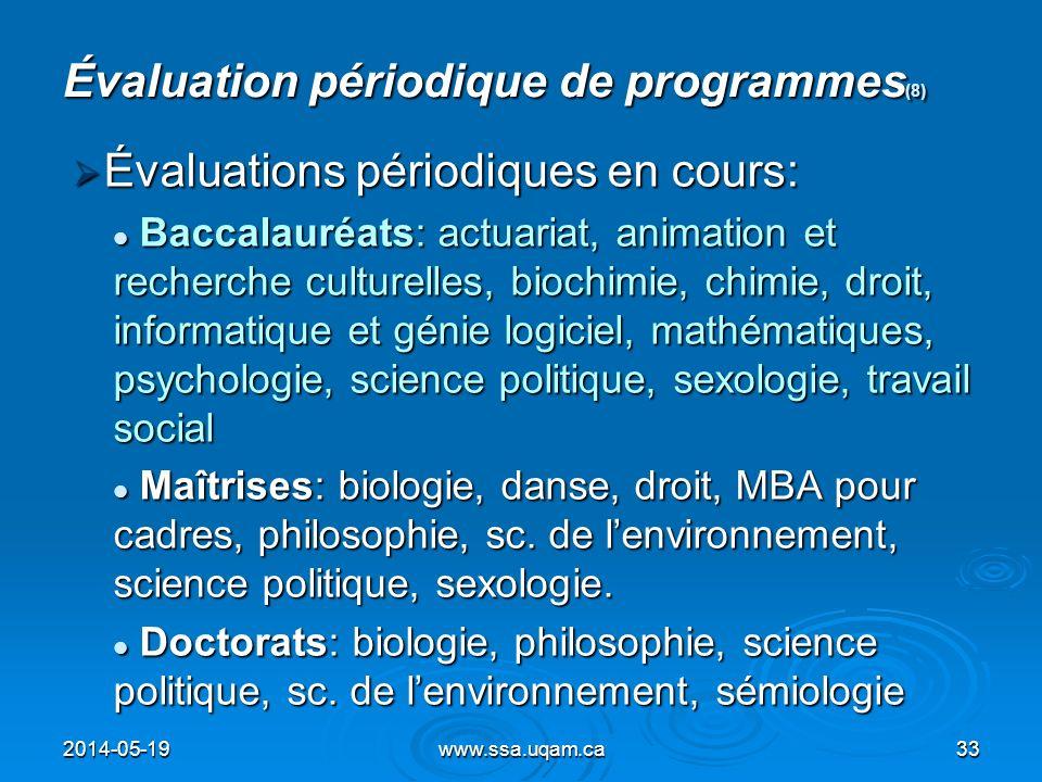 Évaluation périodique de programmes (8) Évaluations périodiques en cours: Évaluations périodiques en cours: Baccalauréats: actuariat, animation et rec