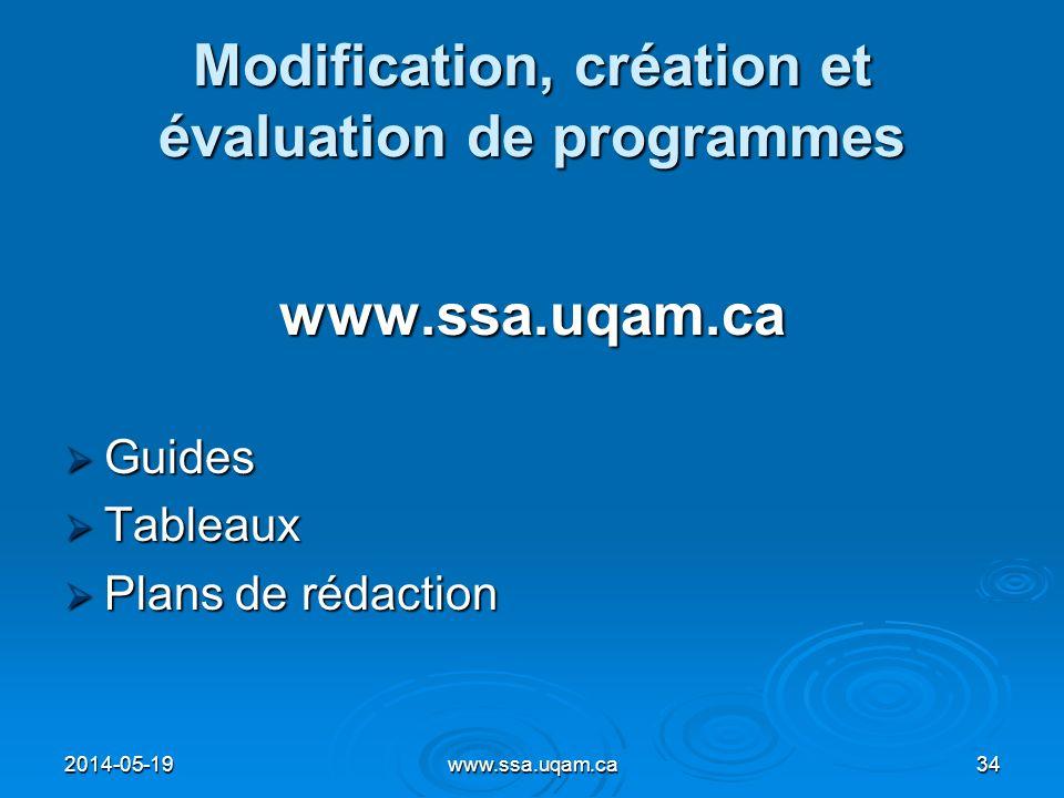 Modification, création et évaluation de programmes www.ssa.uqam.ca Guides Guides Tableaux Tableaux Plans de rédaction Plans de rédaction 2014-05-1934w