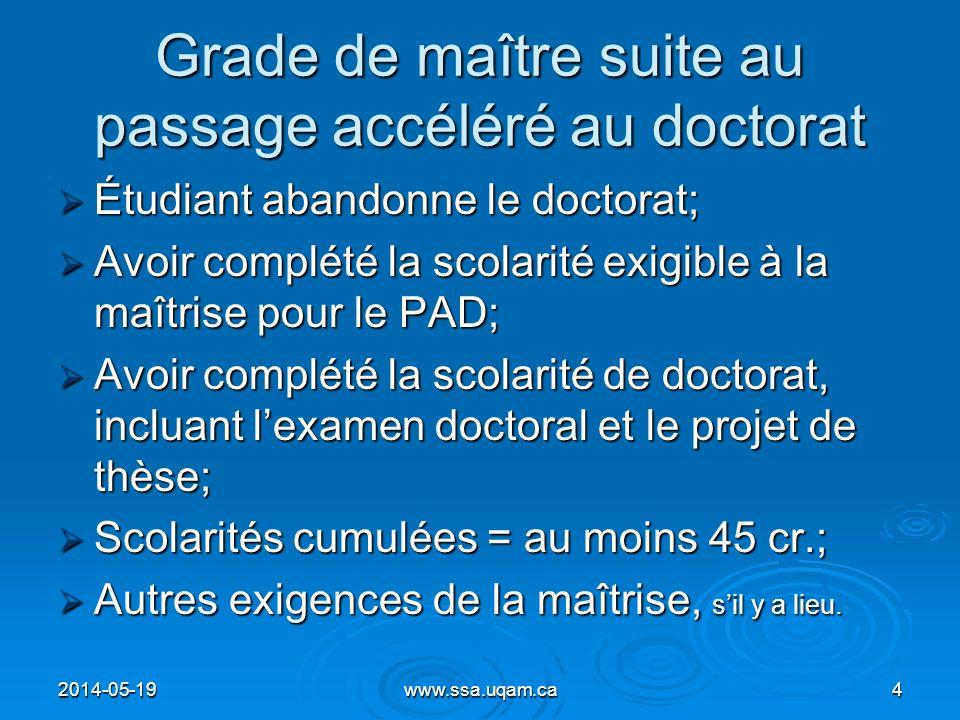 Soutien financier (FARE) Répondantes dans les facultés: Répondantes dans les facultés: FSH: Joëlle Clément (5130) FSH: Joëlle Clément (5130) Sciences: Josée Savard (1646) Sciences: Josée Savard (1646) ESG : Nicolas Riendeau (3237) ESG : Nicolas Riendeau (3237) Contact pour les autres facultés: Contact pour les autres facultés: Johanne Gallagher (7966) Johanne Gallagher (7966) 2014-05-1945www.ssa.uqam.ca