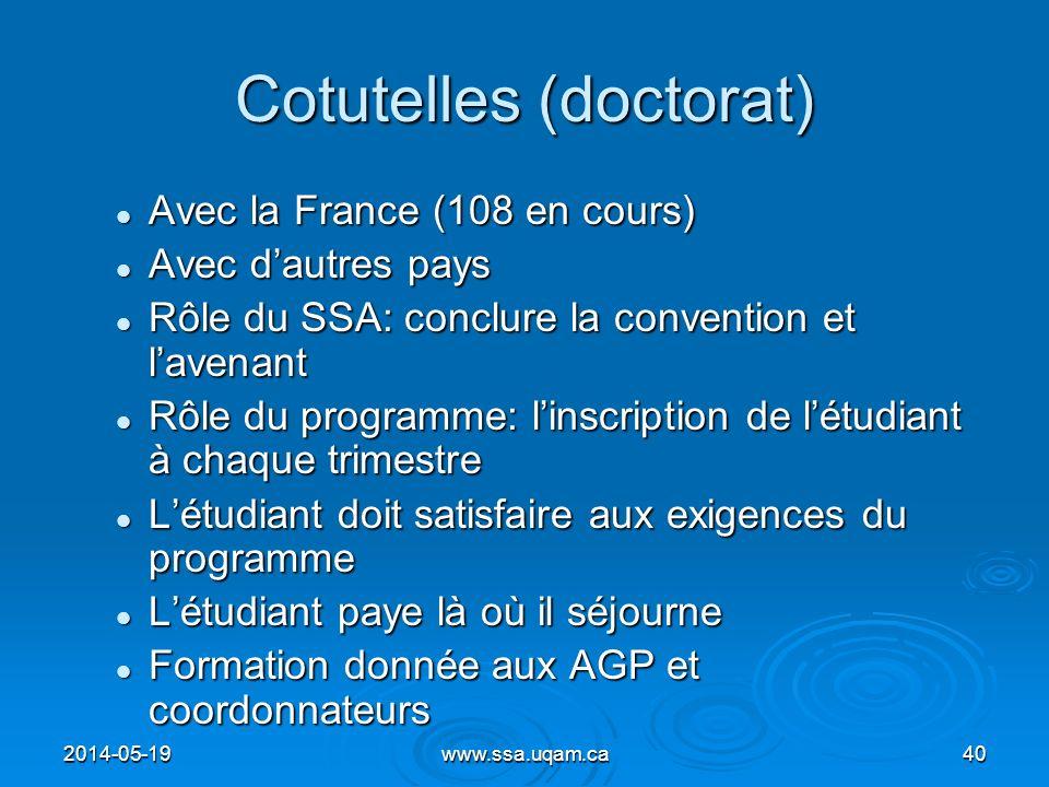 Cotutelles (doctorat) Avec la France (108 en cours) Avec la France (108 en cours) Avec dautres pays Avec dautres pays Rôle du SSA: conclure la convent
