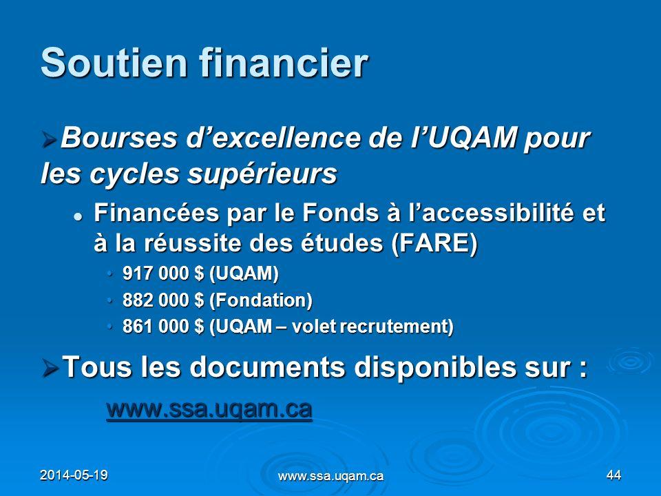 Soutien financier Bourses dexcellence de lUQAM pour les cycles supérieurs Bourses dexcellence de lUQAM pour les cycles supérieurs Financées par le Fon