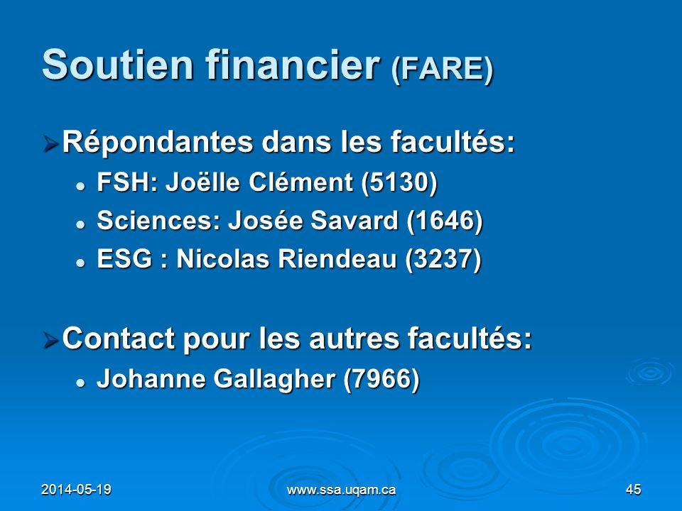 Soutien financier (FARE) Répondantes dans les facultés: Répondantes dans les facultés: FSH: Joëlle Clément (5130) FSH: Joëlle Clément (5130) Sciences: