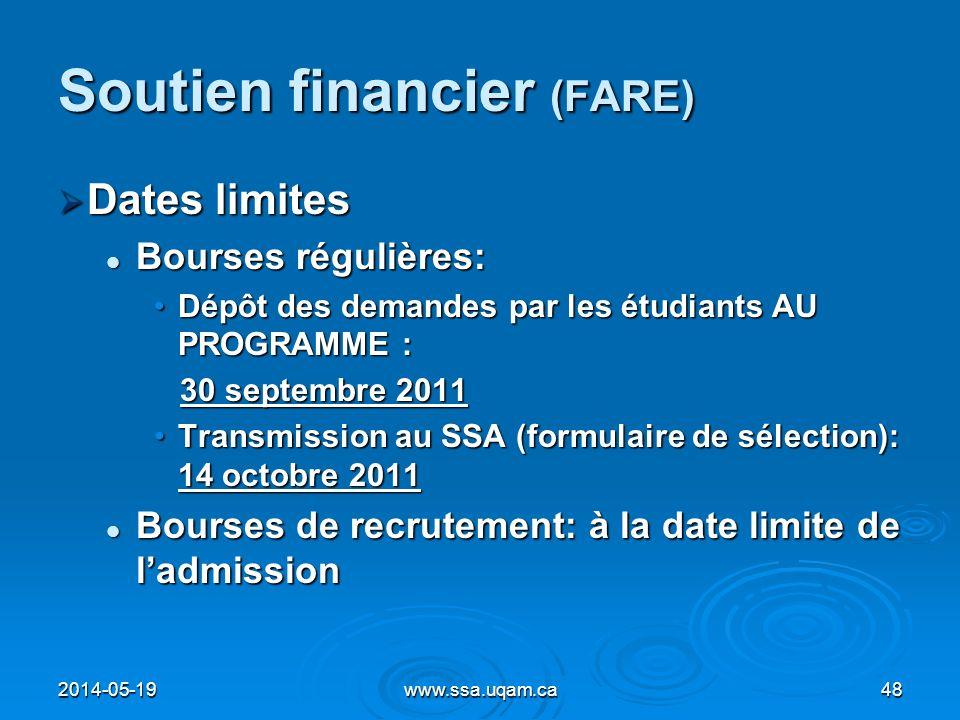 Soutien financier (FARE) Dates limites Dates limites Bourses régulières: Bourses régulières: Dépôt des demandes par les étudiants AU PROGRAMME :Dépôt