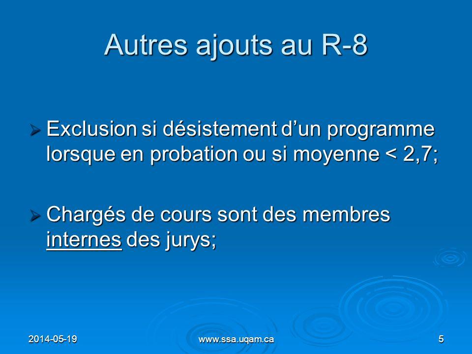Autres ajouts au R-8 Exclusion si désistement dun programme lorsque en probation ou si moyenne < 2,7; Exclusion si désistement dun programme lorsque e