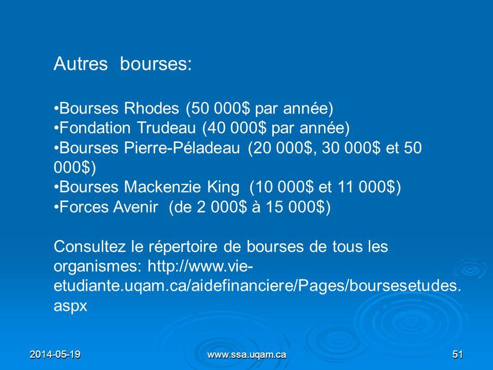 2014-05-19www.ssa.uqam.ca51 Autres bourses: Bourses Rhodes (50 000$ par année) Fondation Trudeau (40 000$ par année) Bourses Pierre-Péladeau (20 000$,