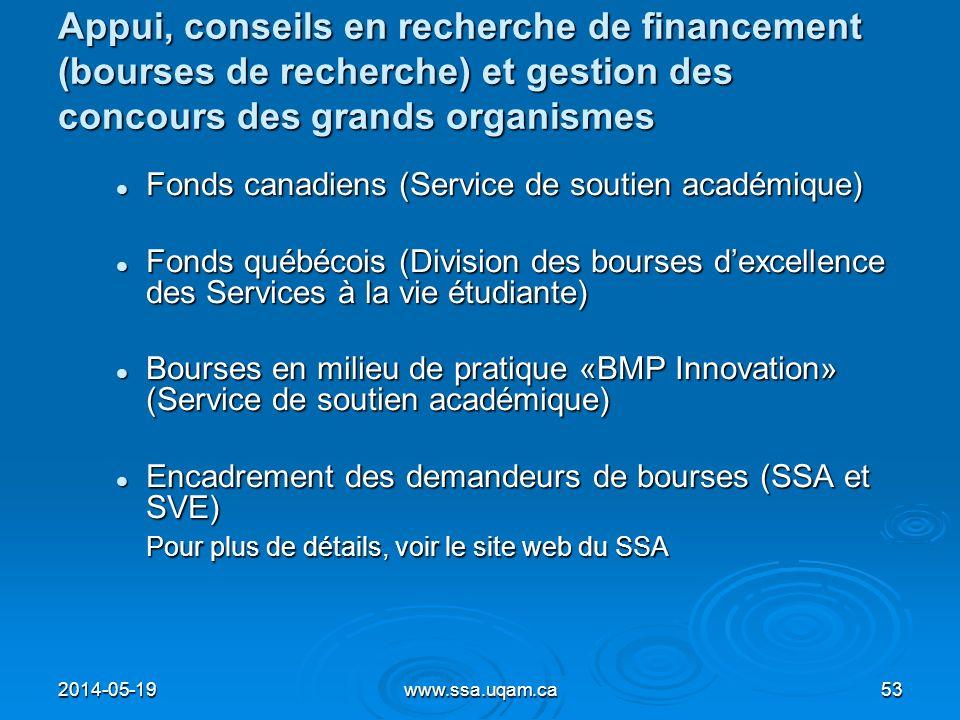 Appui, conseils en recherche de financement (bourses de recherche) et gestion des concours des grands organismes Fonds canadiens (Service de soutien a