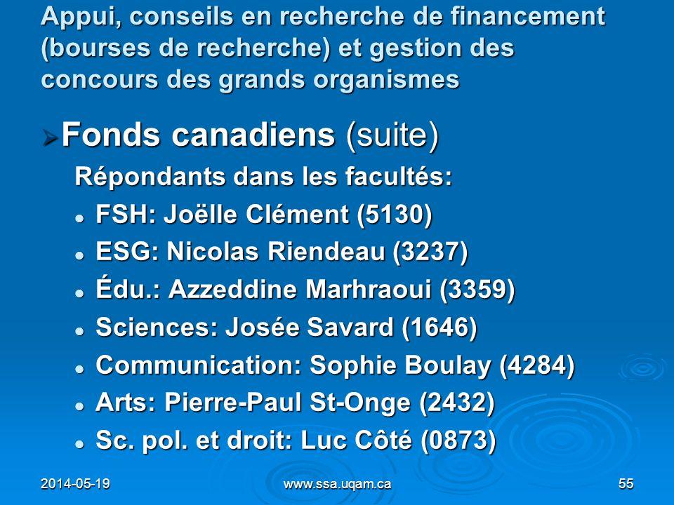 Appui, conseils en recherche de financement (bourses de recherche) et gestion des concours des grands organismes Fonds canadiens (suite) Fonds canadie