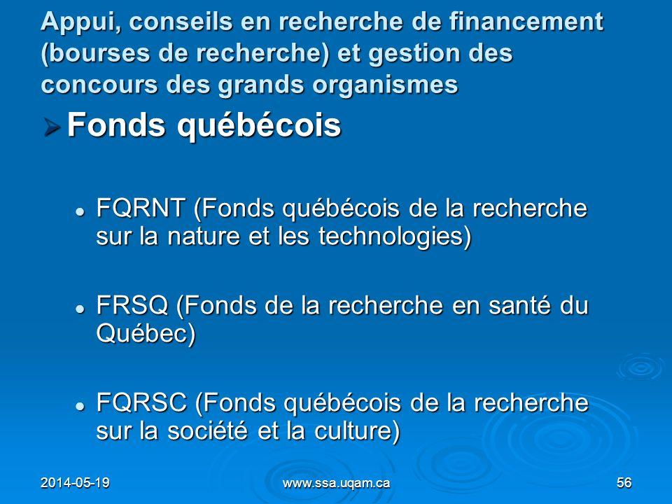 Appui, conseils en recherche de financement (bourses de recherche) et gestion des concours des grands organismes Fonds québécois Fonds québécois FQRNT