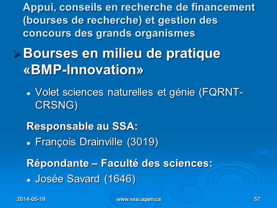 Bourses en milieu de pratique «BMP-Innovation» Bourses en milieu de pratique «BMP-Innovation» Volet sciences naturelles et génie (FQRNT- CRSNG) Volet