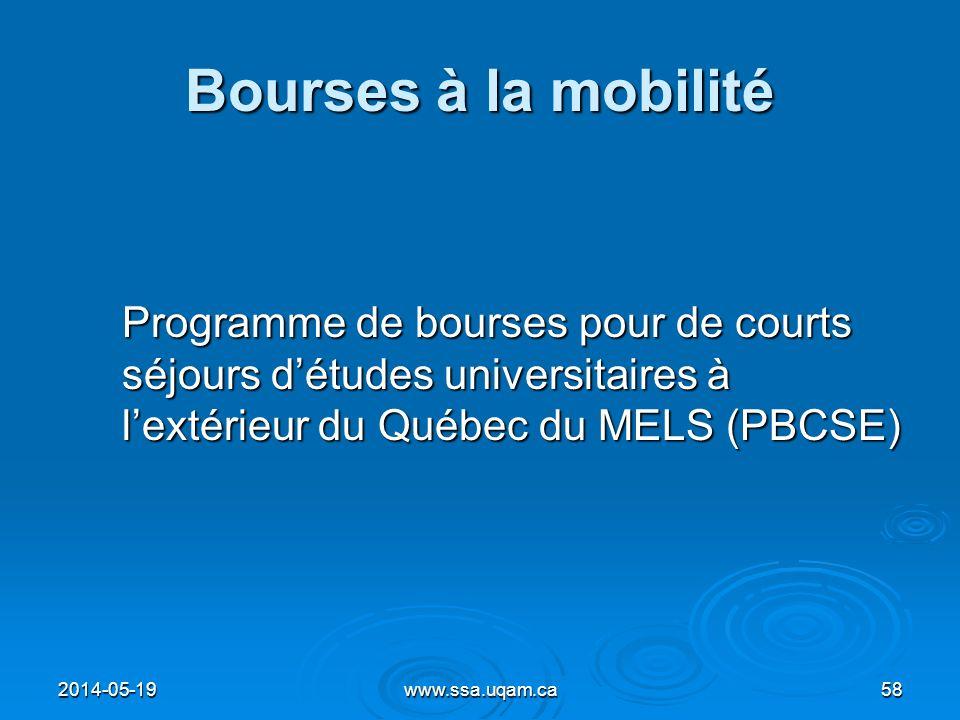 Bourses à la mobilité Programme de bourses pour de courts séjours détudes universitaires à lextérieur du Québec du MELS (PBCSE) 2014-05-1958www.ssa.uq