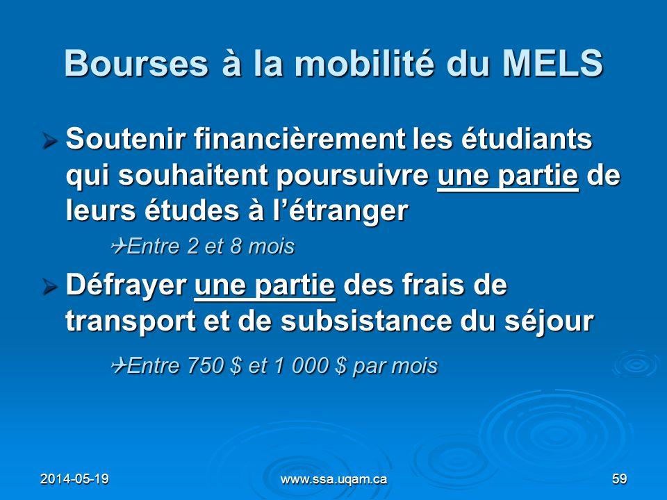 Bourses à la mobilité du MELS Soutenir financièrement les étudiants qui souhaitent poursuivre une partie de leurs études à létranger Soutenir financiè