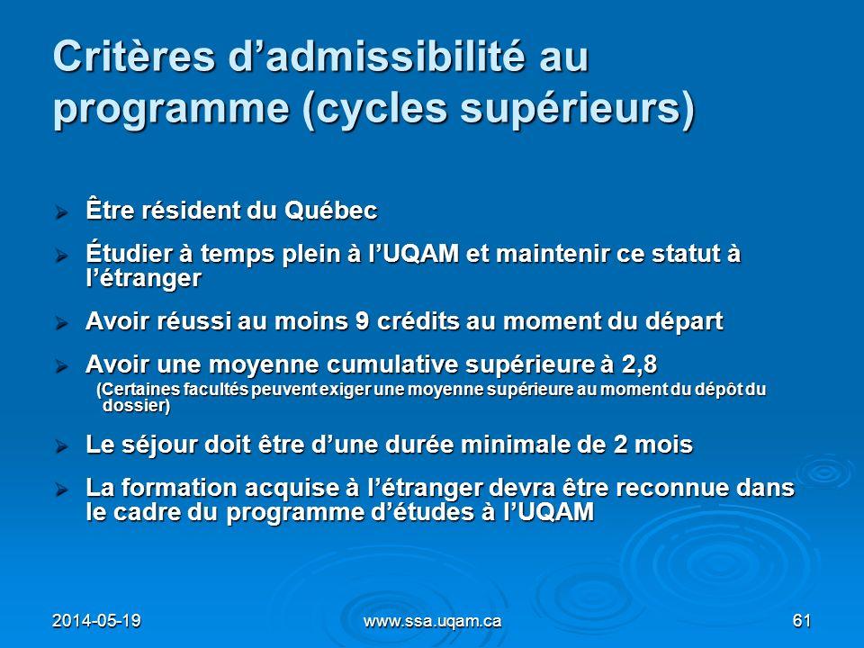 Critères dadmissibilité au programme (cycles supérieurs) Être résident du Québec Être résident du Québec Étudier à temps plein à lUQAM et maintenir ce