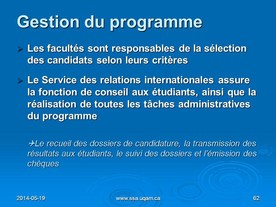 Gestion du programme Les facultés sont responsables de la sélection des candidats selon leurs critères Les facultés sont responsables de la sélection