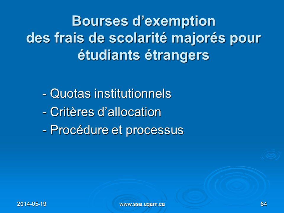 Bourses dexemption des frais de scolarité majorés pour étudiants étrangers - Quotas institutionnels - Critères dallocation - Procédure et processus 20