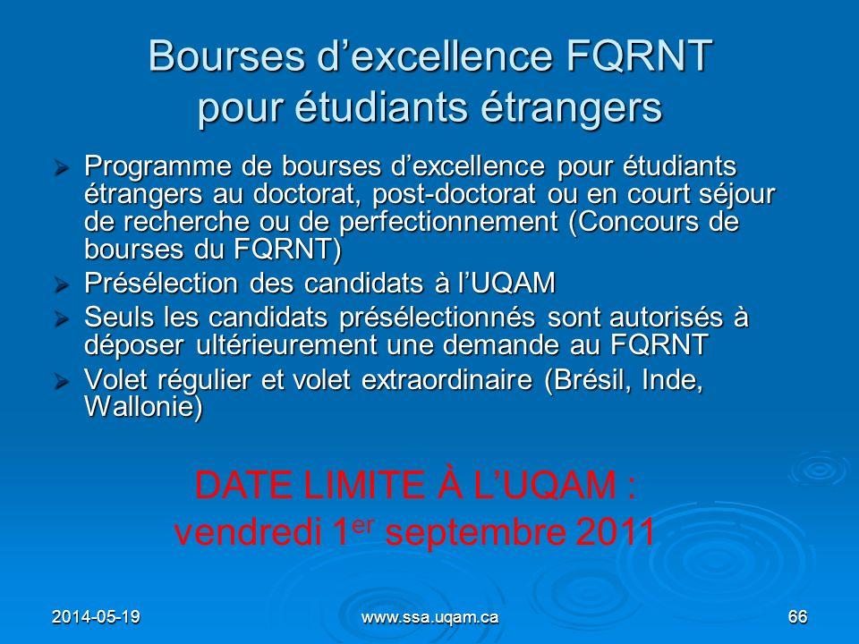 Bourses dexcellence FQRNT pour étudiants étrangers Programme de bourses dexcellence pour étudiants étrangers au doctorat, post-doctorat ou en court sé