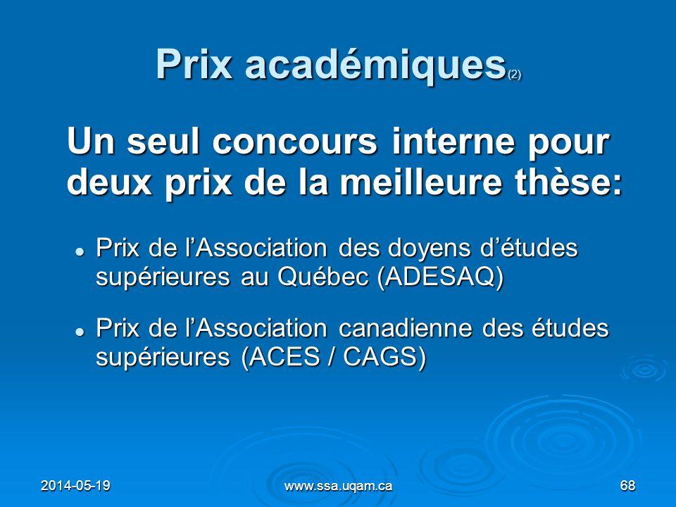 Prix académiques (2) Un seul concours interne pour deux prix de la meilleure thèse: Prix de lAssociation des doyens détudes supérieures au Québec (ADE