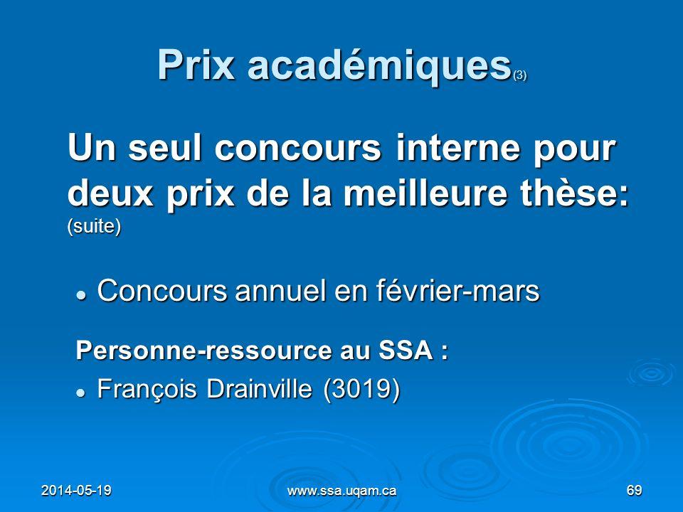 Prix académiques (3) Un seul concours interne pour deux prix de la meilleure thèse: (suite) Concours annuel en février-mars Concours annuel en février