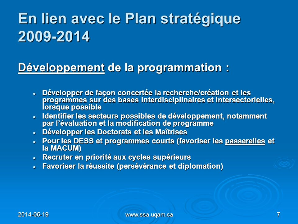 En lien avec le Plan stratégique 2009-2014 Développement de la programmation : Développer de façon concertée la recherche/création et les programmes s