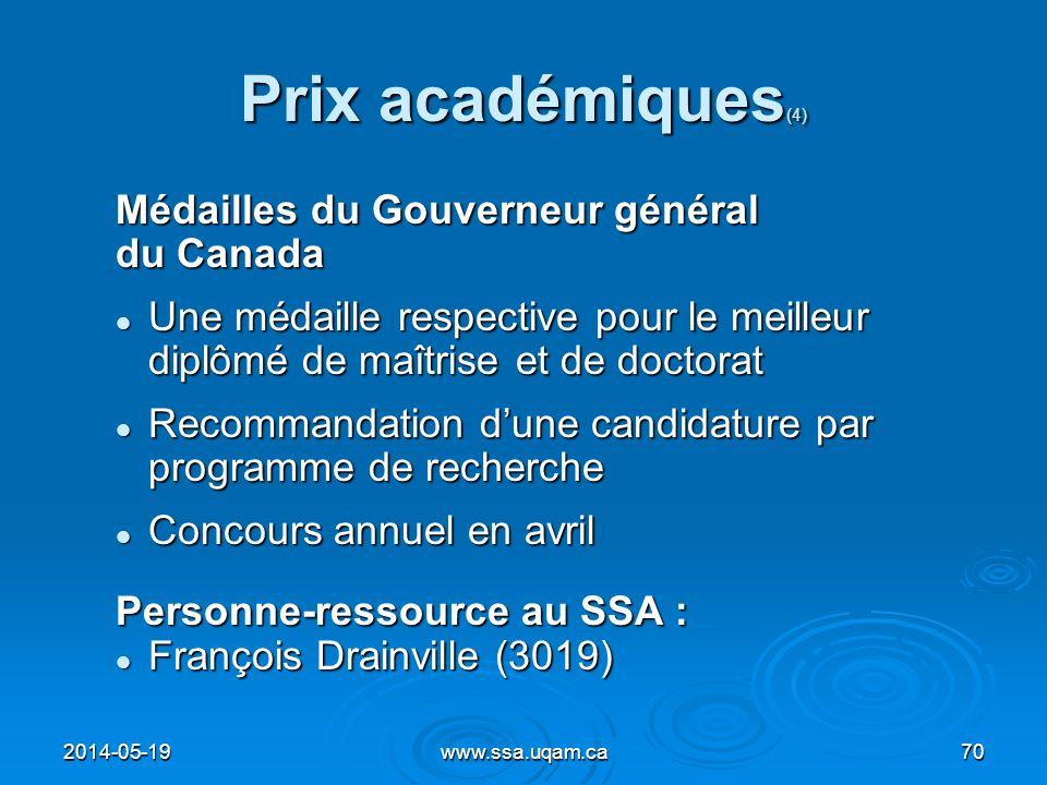 Prix académiques (4) Médailles du Gouverneur général du Canada Une médaille respective pour le meilleur diplômé de maîtrise et de doctorat Une médaill
