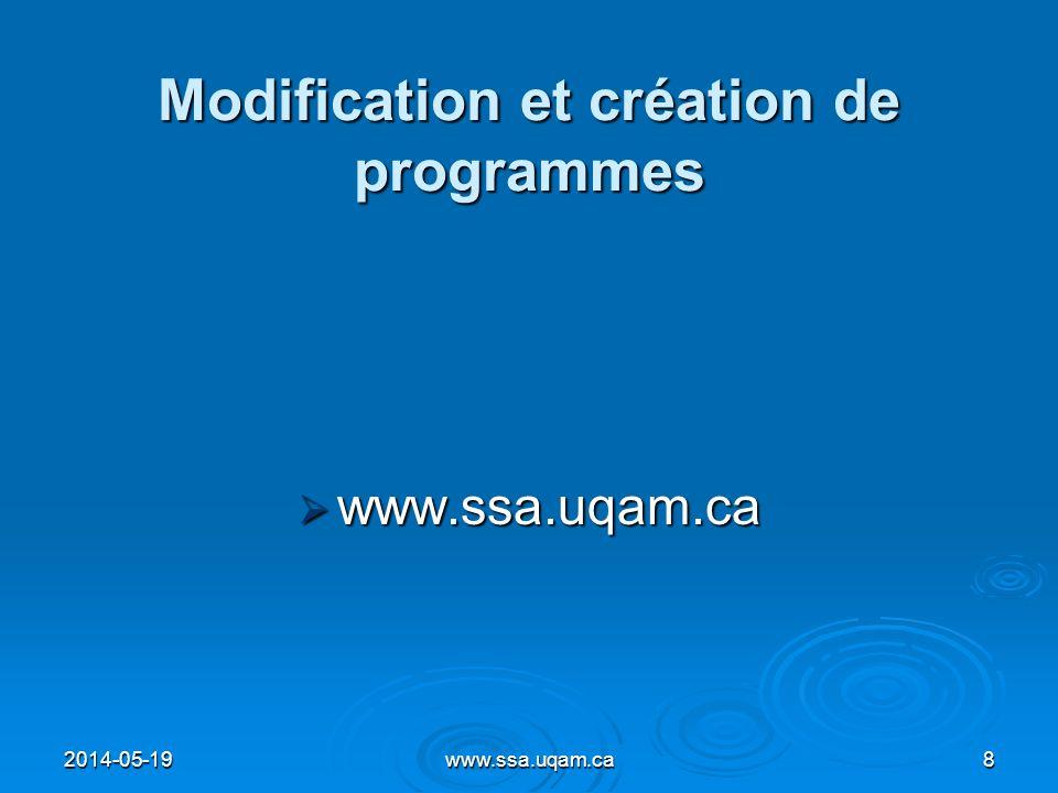 Modification et création de programmes www.ssa.uqam.ca www.ssa.uqam.ca 2014-05-198www.ssa.uqam.ca